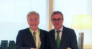 Ken Kawai, Mitsubishi Power's President and CEO_ Aitor Moso, Iberdrola's director of Liberalized Business (Photo taken in October 2019)
